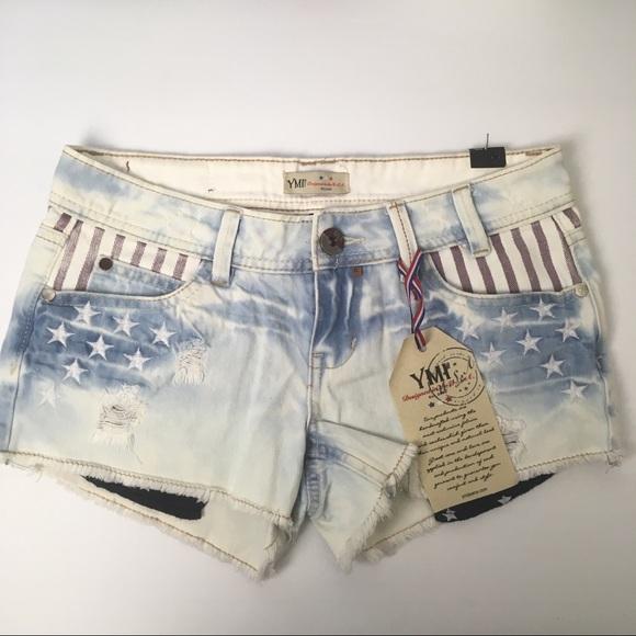 YMI Pants - YMI American flag distressed denim shorts, stars